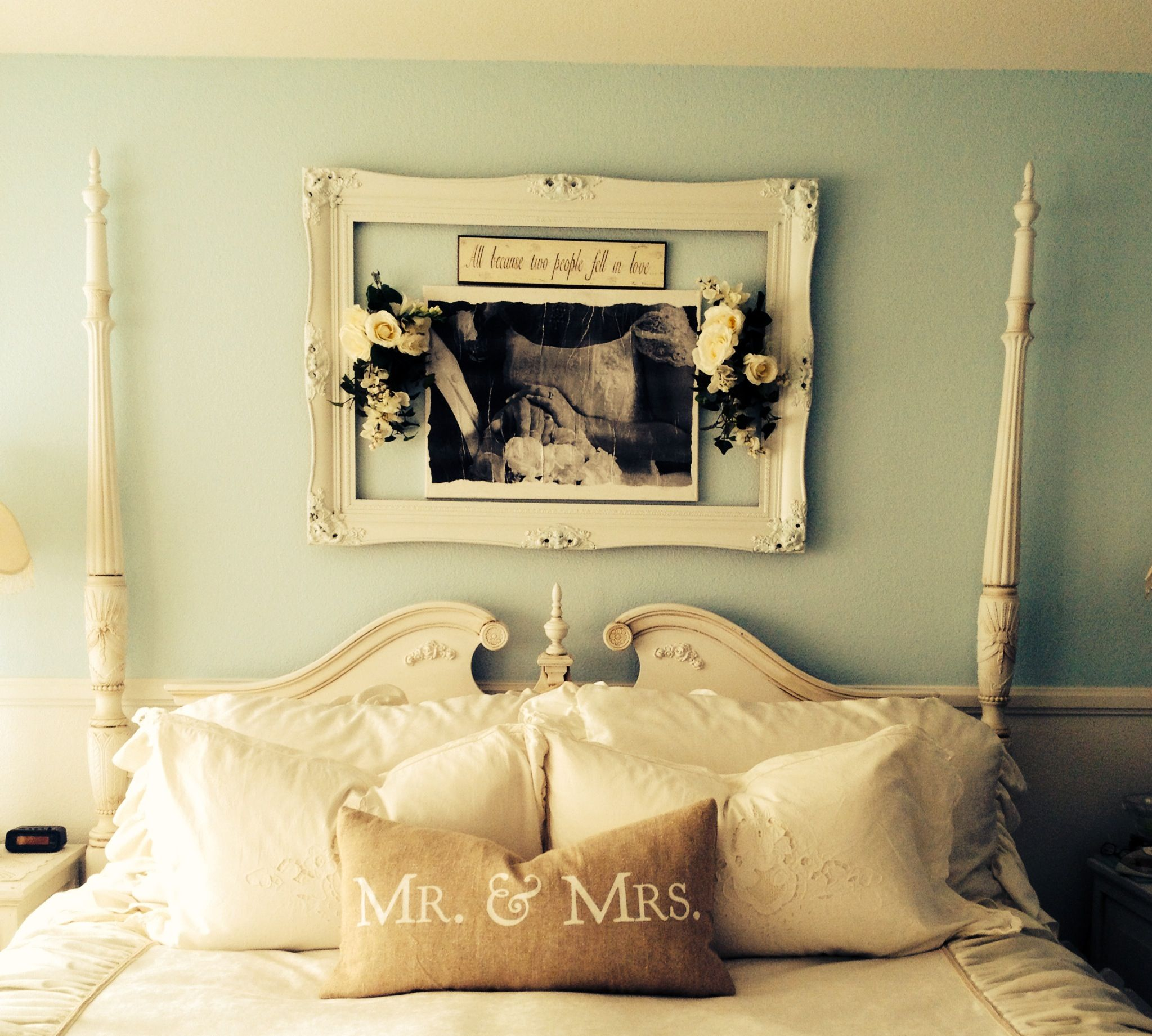 Shabby chic master. Wedding pic canvas in middle of a large frame ...