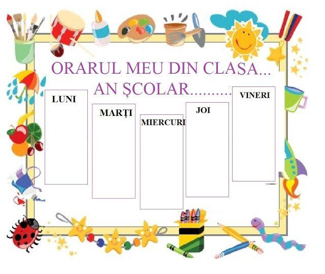 Model orar școlar   Free preschool, Preschool certificates ...