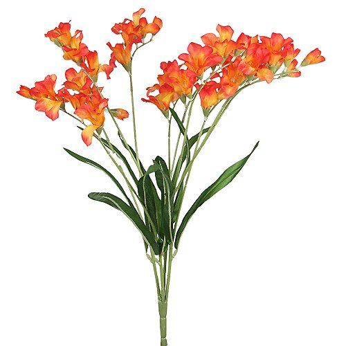 21 Elegant Freesia Silk Flowers Spray Wedding Orange 073