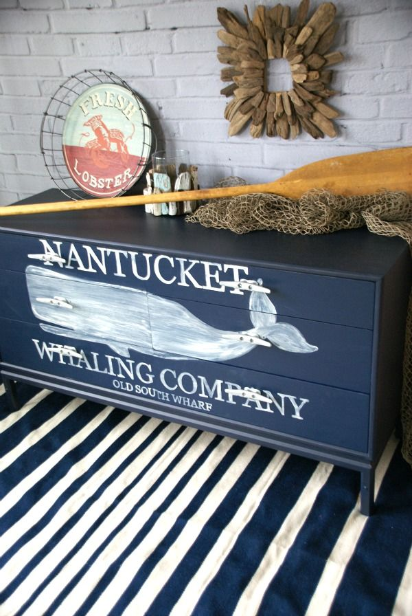 Nautical Whale Dresser {Themed Furniture Makeover Day