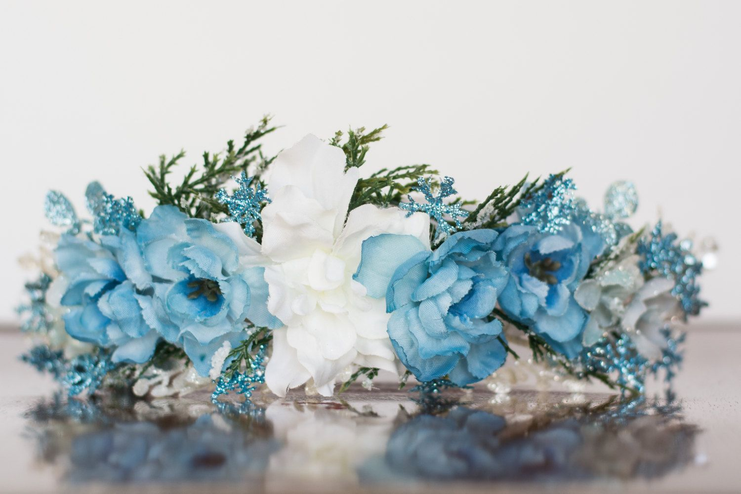 Blue flower crown christmas halo wedding newborn prop wedding blue flower crown christmas halo wedding newborn prop wedding crown floral izmirmasajfo