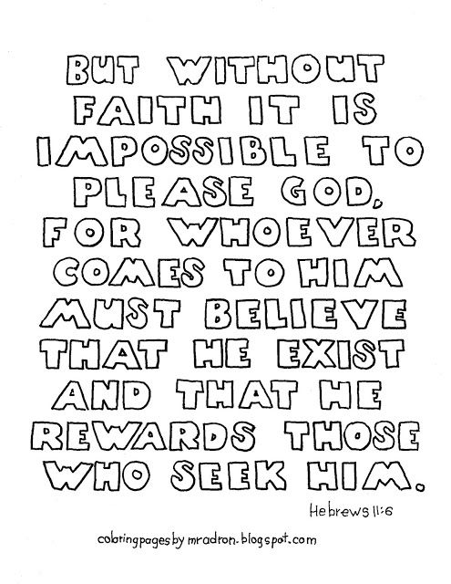 Printable Hebrews 11 6 Coloring Page Without Faith It Is