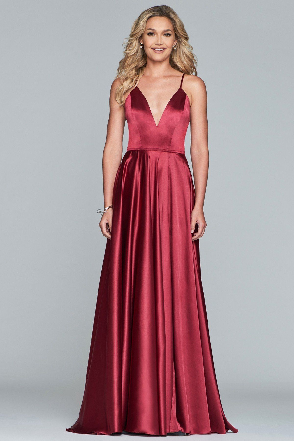 5bd1cdfd969 Faviana S10209 V-Neck Gown with Lace-Up Back in 2019