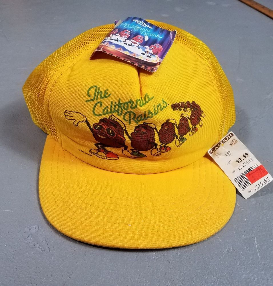 509391a0746 Vintage California Raisins yellow Foam Mesh Trucker SnapBack Cap Hat  Original tags still intact Condition  good overall