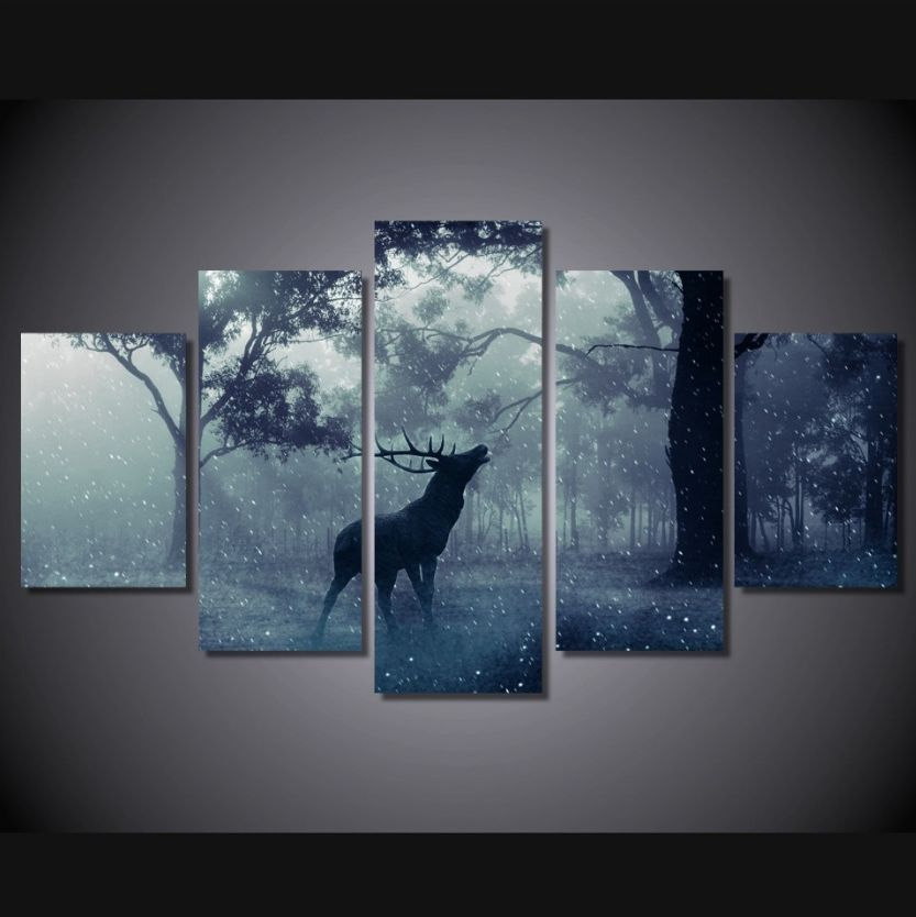 5 panel winter rain deer framed wall canvas art