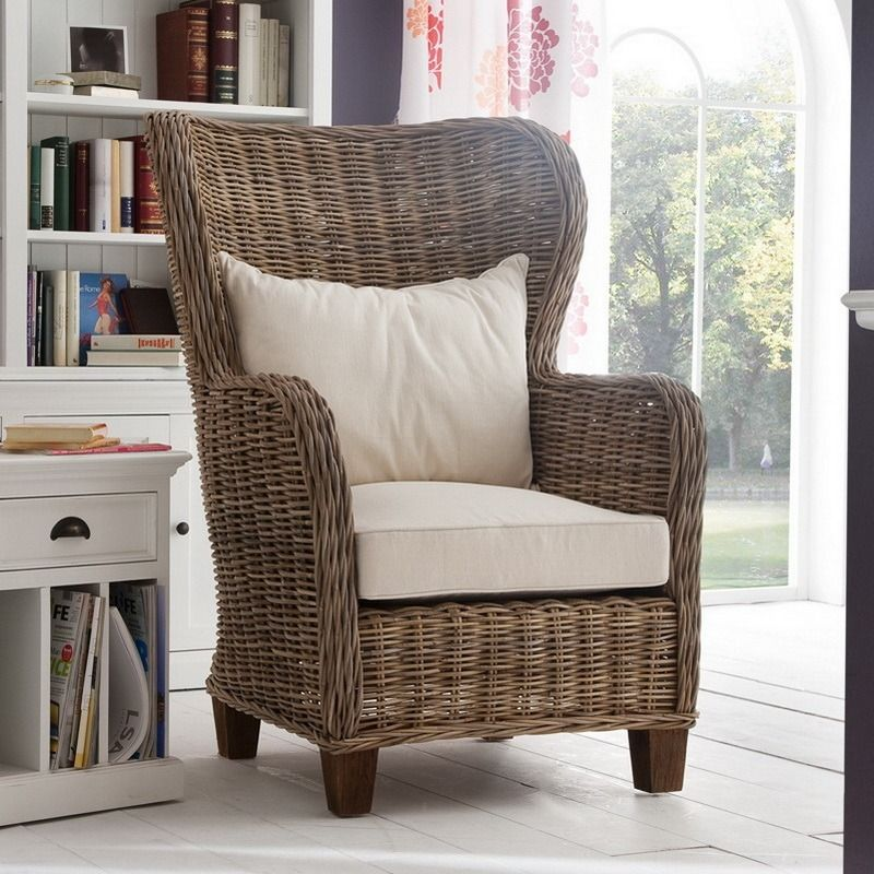 Garry coastal rattan wingback accent chair in 2020