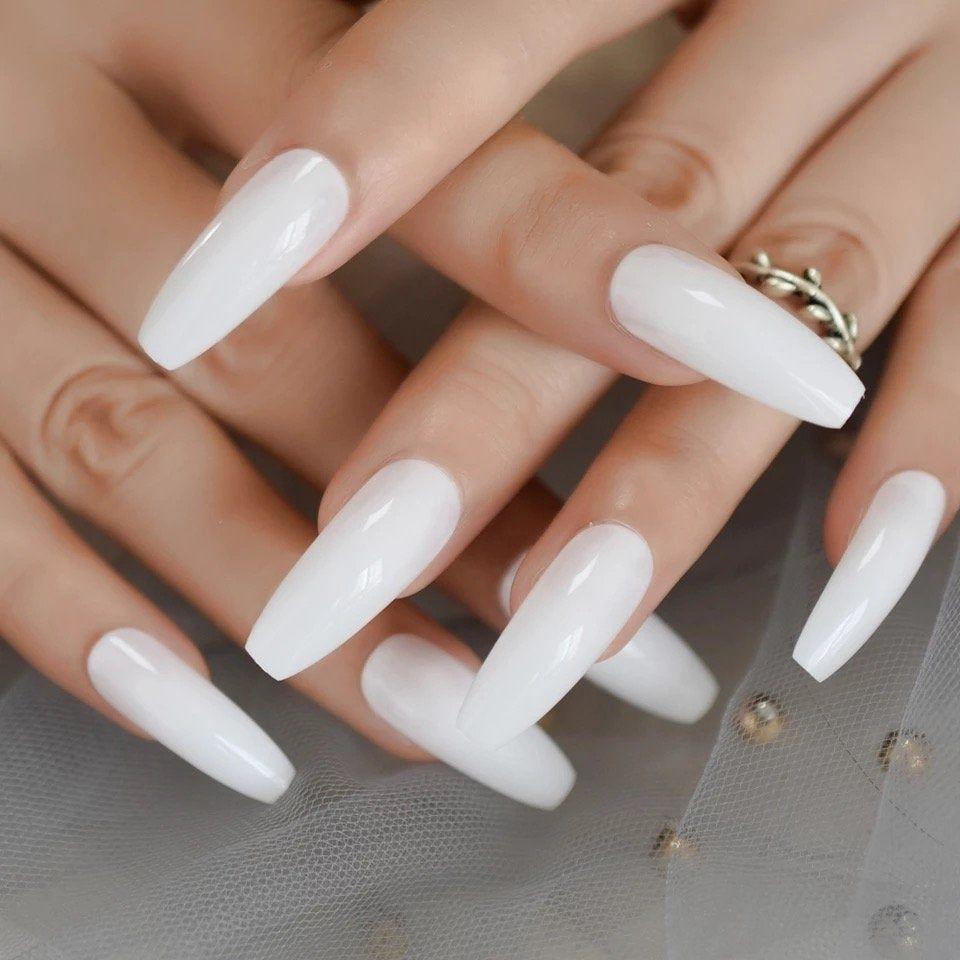 White Ballerina False Nails Extra Long Coffin Flat Press On Fake Nails Salon Party Finger Glue On In 2020 Fake Nails Designs Fake Nails White Acrylic Nails