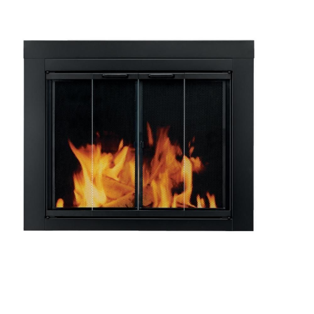 Pleasant Hearth Ascot Small Glass Fireplace Doors At 1000 The Home Depot Fireplace Glass Doors Fireplace Doors Glass Fireplace