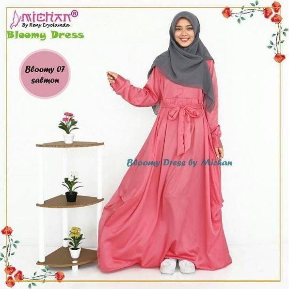 Pin By Iffah Fathin On Style: Gamis Michan Bloomy Dress 07 Salmon