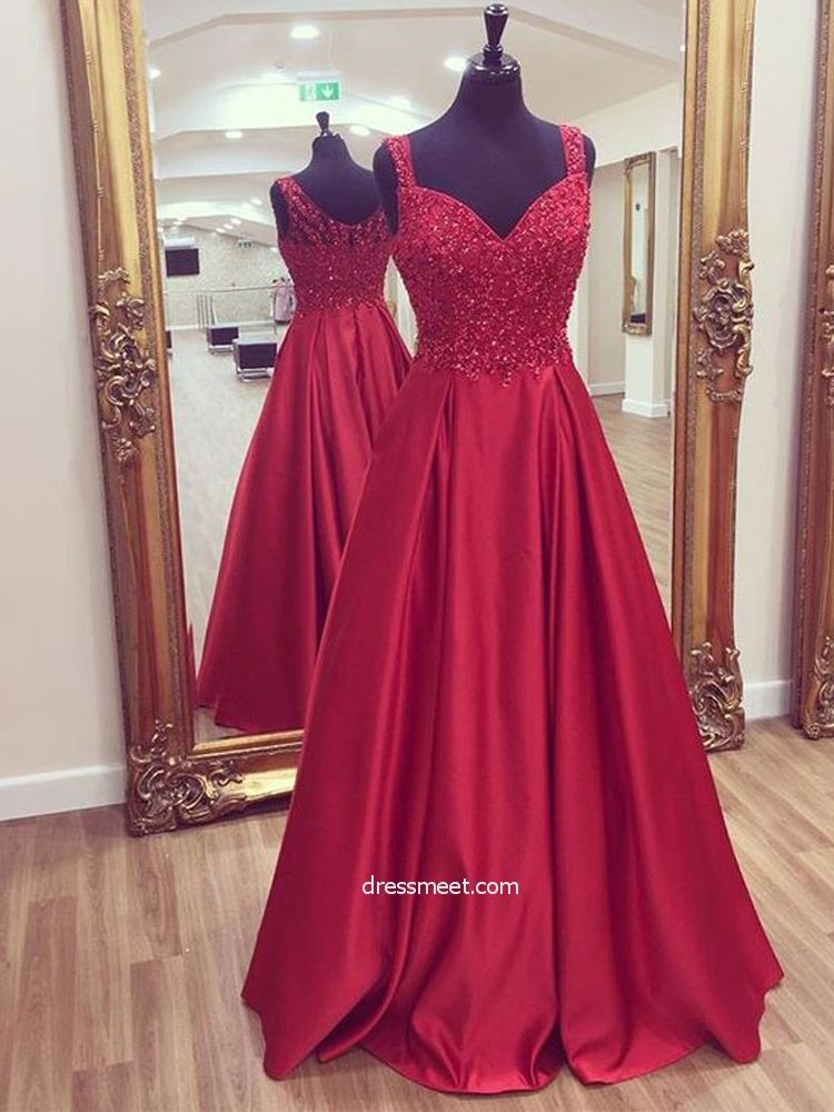76054d663ab Charming A Line Sweetheart Open Back Dark Red Lace Long Prom Dresses with  Beading, Formal Evening Party Dresses | Dressmeet.com