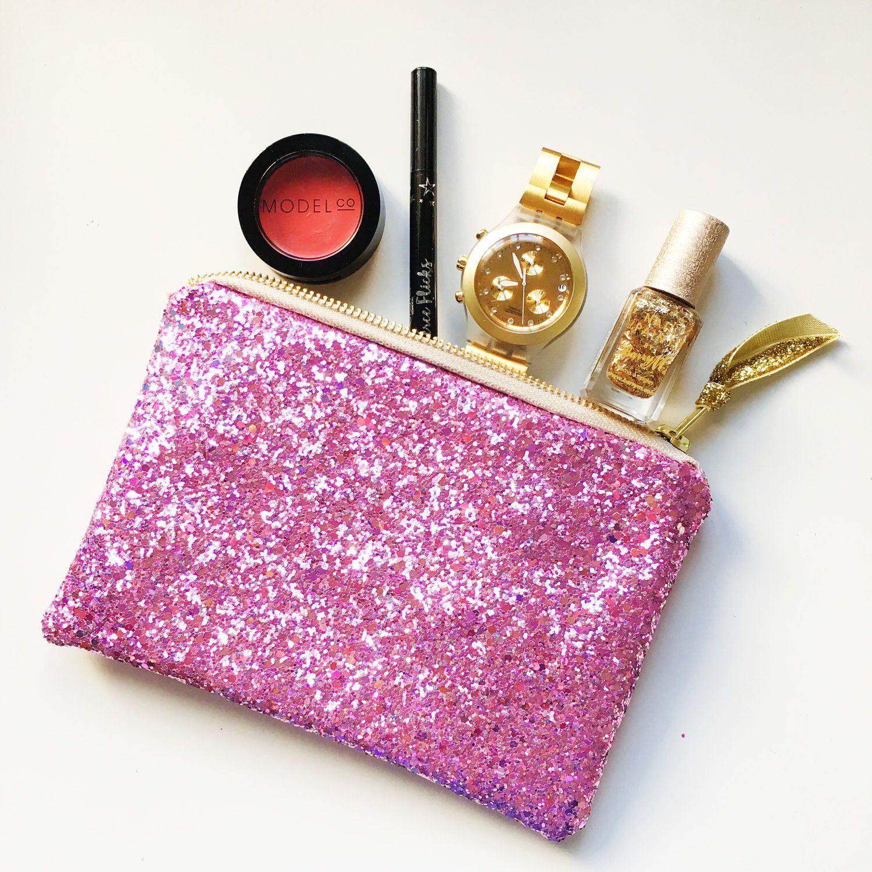 Sparkly Pink glitter makeup pouch, makeup bag, small purse