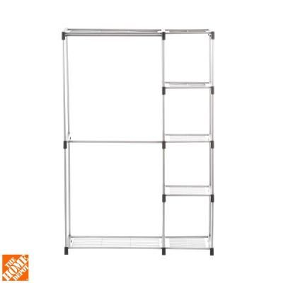 Whitmor Supreme Garment Closet Collection 19 5 In D X 45 38 In W X 68 In H Double Rod Metal Closet System Shelves 6779 3044 With Images Wire Closet Systems Closet System Closet Organizing Systems