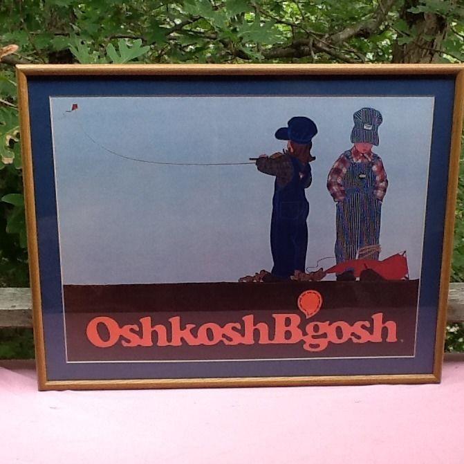 70s OSHKOSH B'GOSH Framed Print - Kids & Kites Ad Poster  #oshkoshbgosh