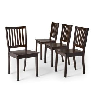 Simple Living Slat Espresso Rubberwood Dining Chairs Set Of 4 Chair Brown