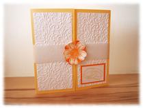 Hochzeitskarte in fröhlichem Gelb und Orange