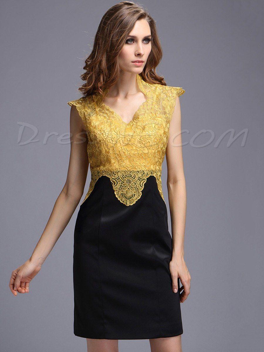 59119836a comprar Vestido de encaje sin mangas bordan Poco Partido sexy escote en V  Online
