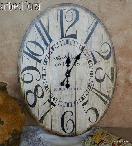 Wood Wall Clock With Oversized Numerals. Product: Wall ClockConstruction  Material: WoodColor: Black And Ivory Accommodates: Batteries   Not Included  ...