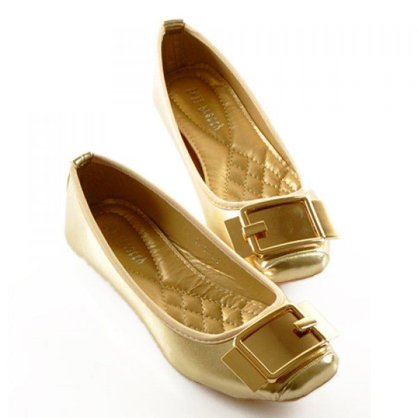 Retro Square Toe and Metallic Design Women's Flat Shoes, GOLDEN, 37 in Flats | DressLily.com