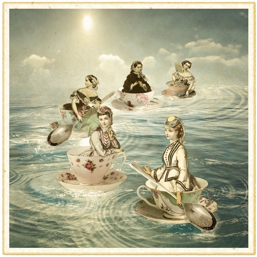 Surfers on a teacup sea by hogret on DeviantArt