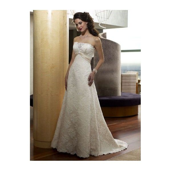Champagne Lace Overlay A-line Strapless Sash Wedding Dress