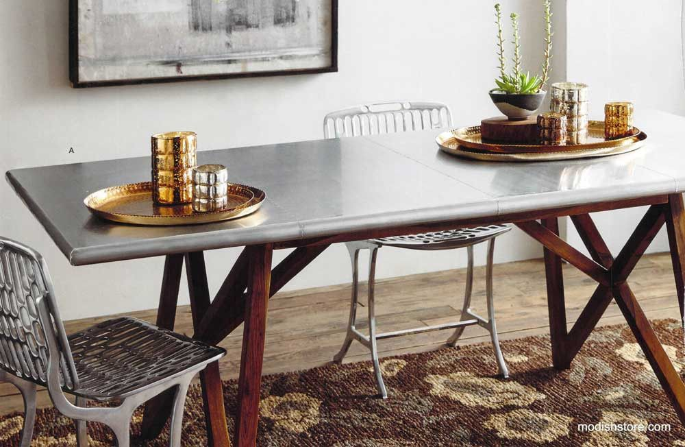 Roost Aluminum-Clad Dining Table.