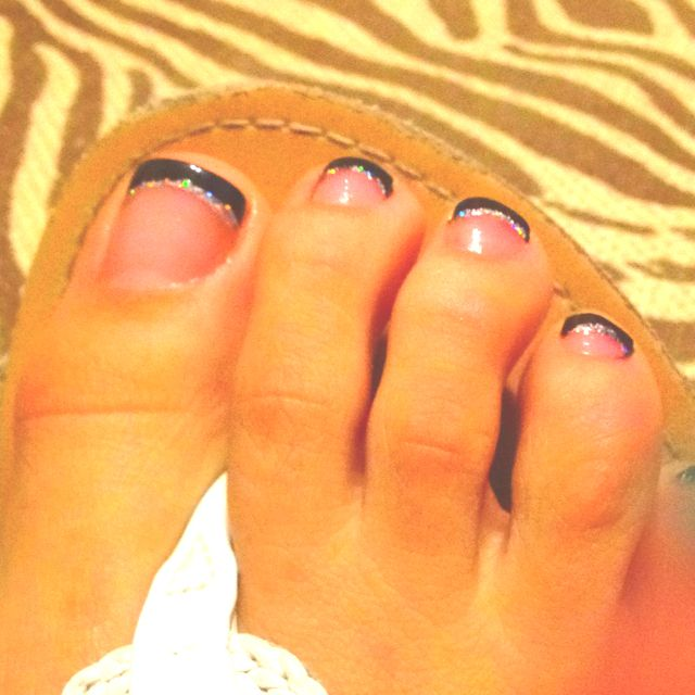 Black French Tip Toes :) Hitting Up The Nail Salon For A