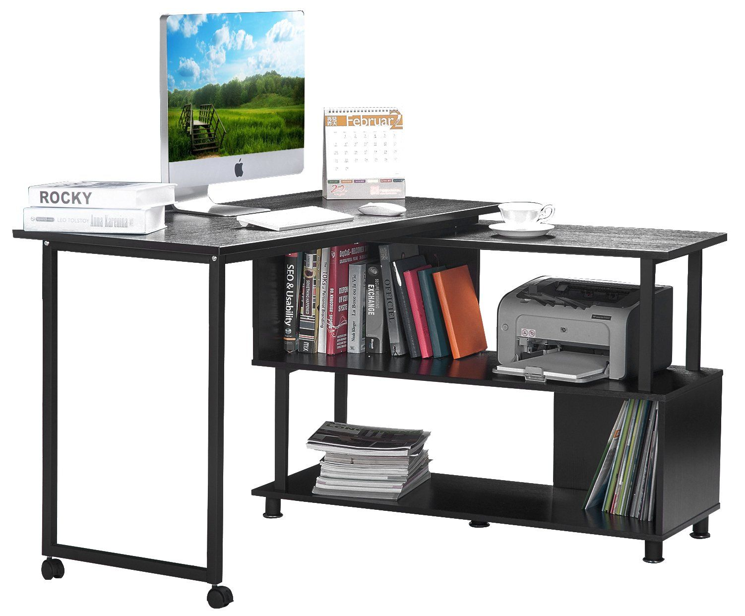 Merax Rotatable Computer Desk Home office furniture L-shaped with ...
