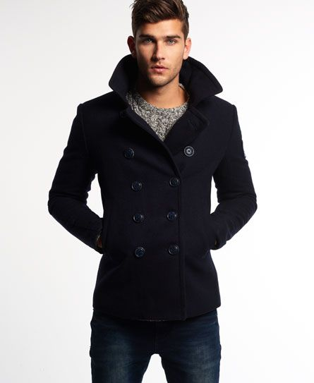39a0f7bda Superdry Rookie Pea Coat Navy | Dr Thinklove: Style Guide | Casual ...