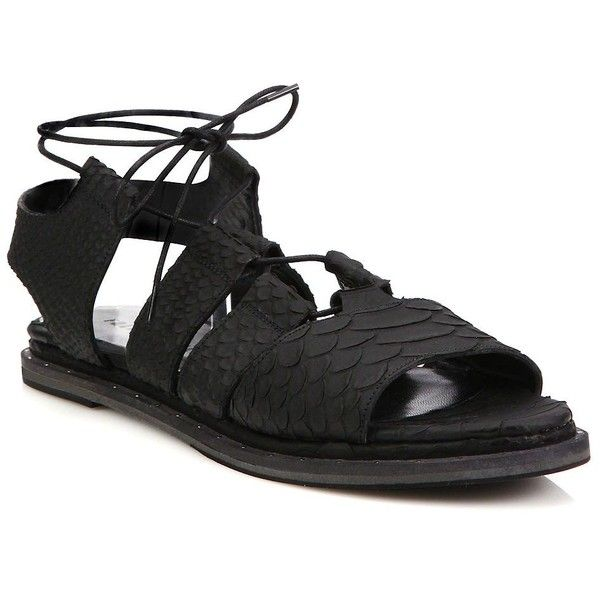 a657a4c1308 FREDA SALVADOR Wise Snake-Embossed Leather Ghillie Gladiator Sandals ...