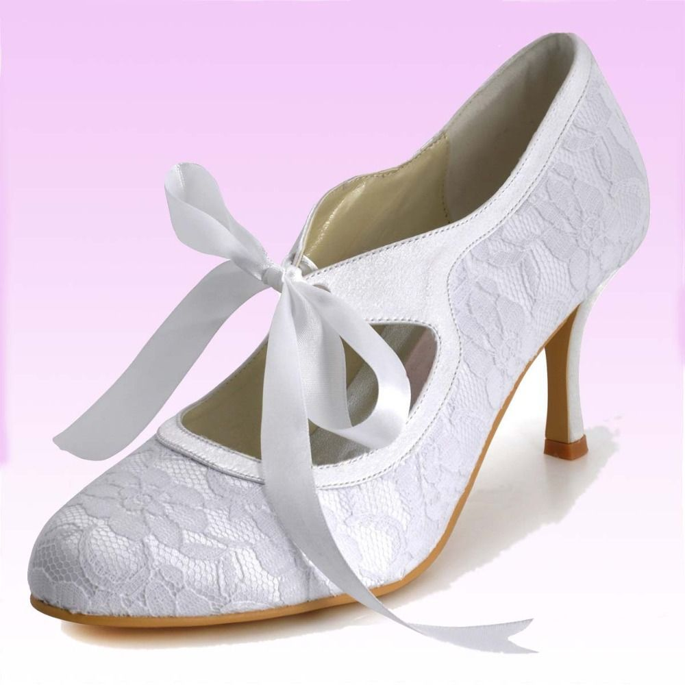 3 Inch Marry Janes Lace Wedding Bridal High Heel Shoes Lace Up White Ivory Custom Made Sweet Evening Party Wedding Shoes Pumps Bride Shoes Womens Wedding Shoes