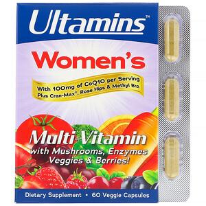 Ultamins فيتامينات متعددة للمرأة مع إنزيم Q10 المساعد وعيش الغراب والإنزيمات والخضراوات والتوت 60 كبسولة نباتية Cranberry Vitamins Veggie Capsule Stuffed Mushrooms