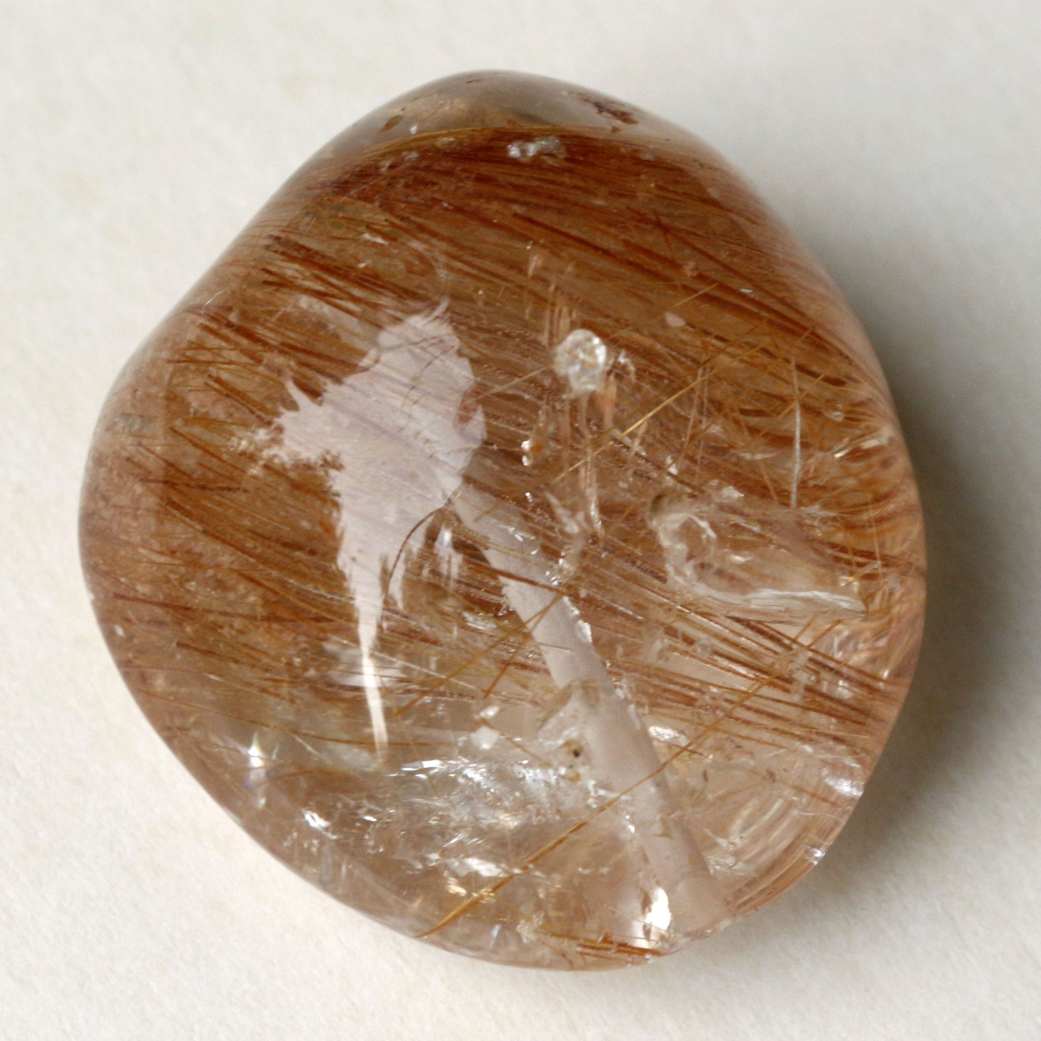 Rutilated Quartz Crystal Tumbled Stone with Copper-like Threads - 149 Carots