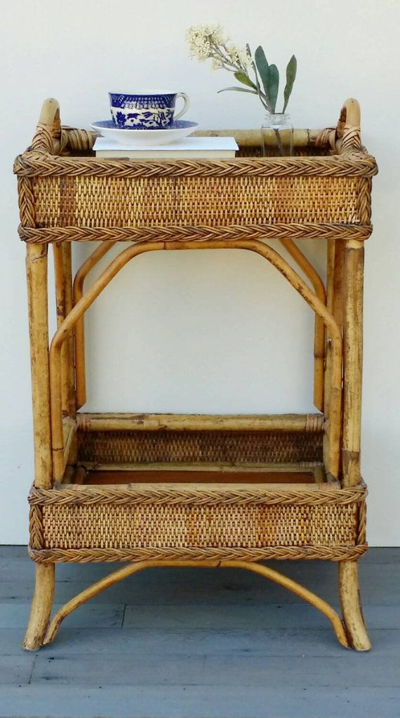 Vintage rattan tray table shelf wicker side table bamboo side table mini bar table for Rattan side tables living room