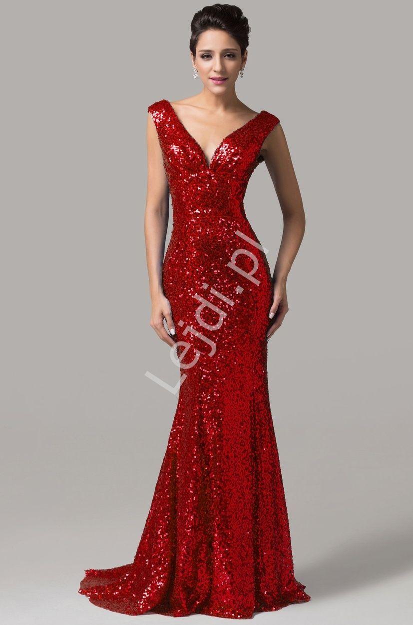 a290cc13 Zjawiskowa czerwona suknia cekinowa z trenem| czerwone sukienki na ...