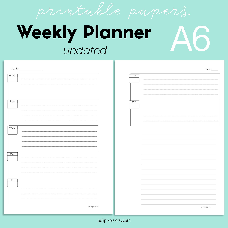 Printable Weekly Planner A6 Undated Planner Week On Two Pages Planner Digital Weekly Planner Weekly Planner Printable Weekly Planner Digital Weekly Planner