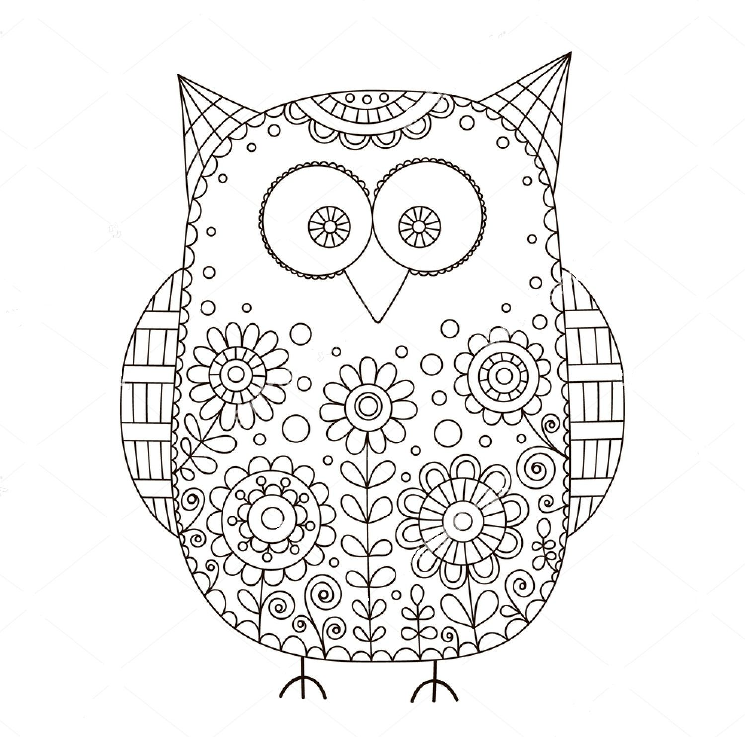 Owl Zentangle Coloring Page Owl Coloring Pages How To Draw Hands Flower Doodles