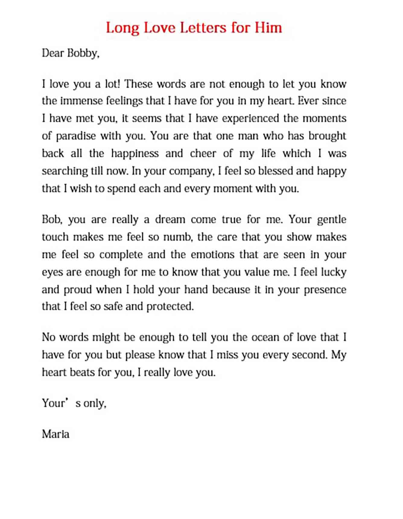 I love you love letters for husband
