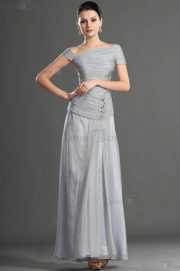 Etui Perlenbesetztes extravagantes Abendkleid mit kurzen Ärmeln aus Chiffon - Damebox.com