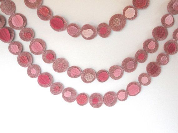Bunting garland pink wool eco-friendly party decor by fairyshadow