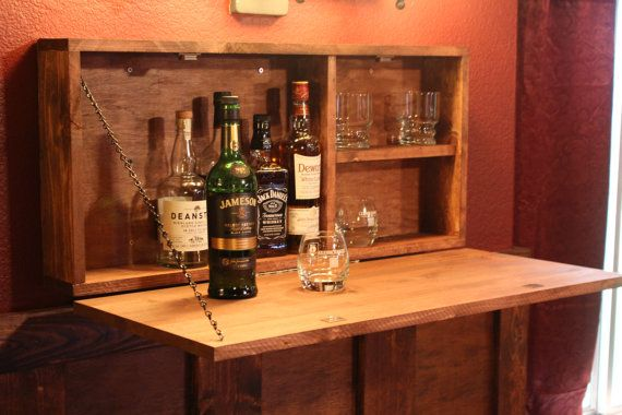 Handmade Rustic Wooden Murphy Bar Wall Mounted Measures