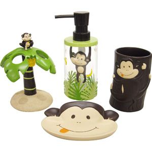 Monkey Bath Accessories Set For The Jungle Bathroom