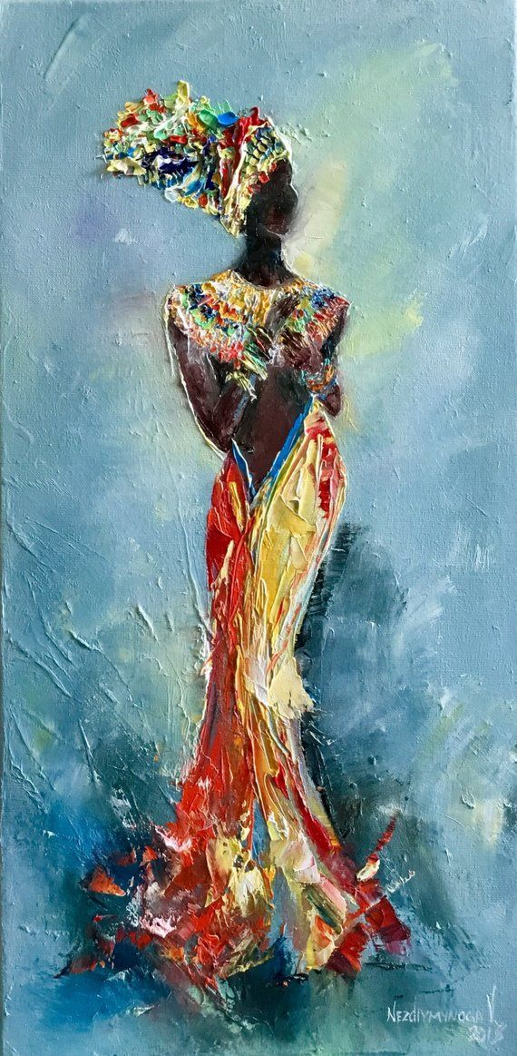 892926b1d5c7e9 African oil painting African women art work Colorful painting on canvas  Wall art decor Miniature eth