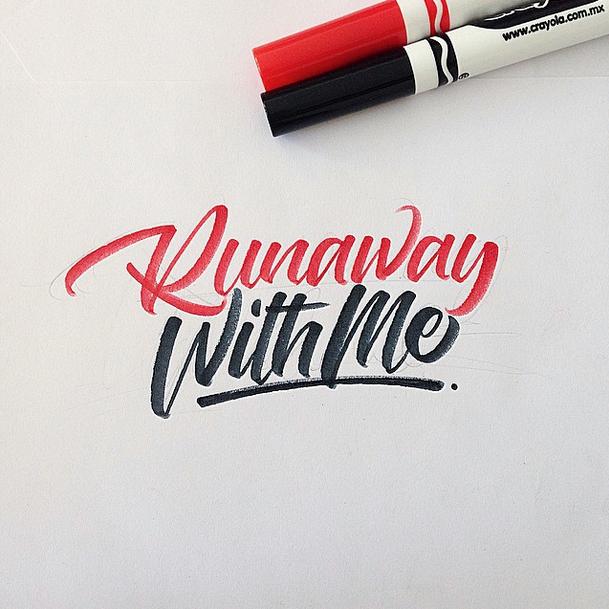 runaway with me brushpen calligraphy david milan