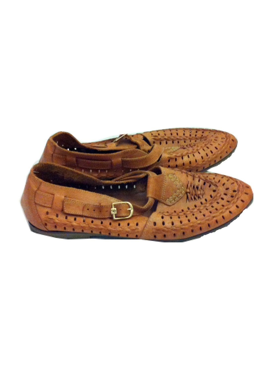 9dc317c9d1d Vintage 70s Navajo Moccasin Shoes - Woven Mocs - Leather- Grandpa - Tan -  Indian - Native - Buckle - Pointed Toe - Hipster - Mens Size 11