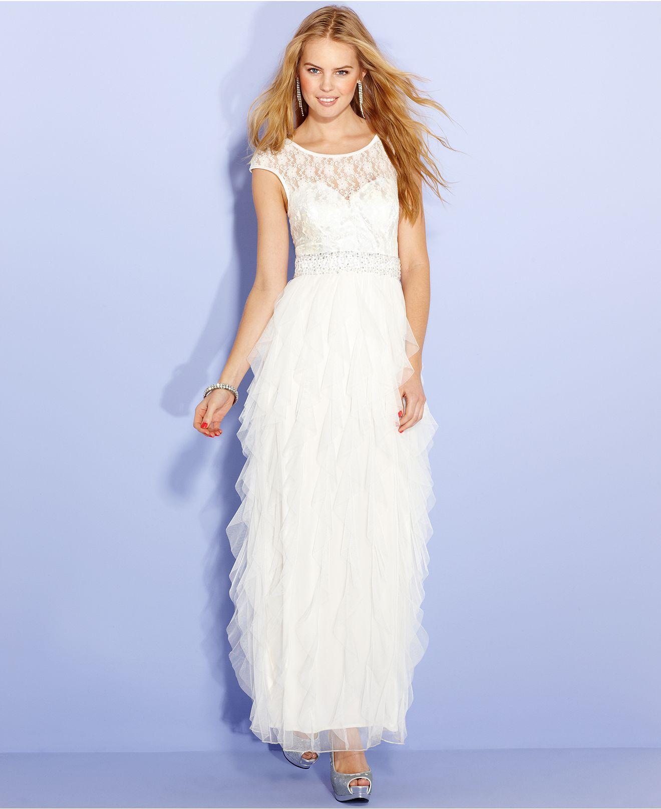 Roberta Juniors Dress Cap Sleeve Lace Ruffle Gown Juniors Dresses
