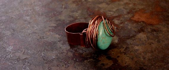 Natural Turquoise RingGenuine Copper Ring Size US85 by cOppErLoVe1, $19.00