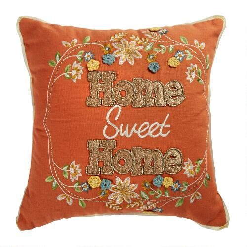 One Of My Favorite Discoveries At Christmastreeshops Com Home Sweet Home Embroidered Square Throw Pillow Throw Pillows Christmas Throw Pillows Pillows