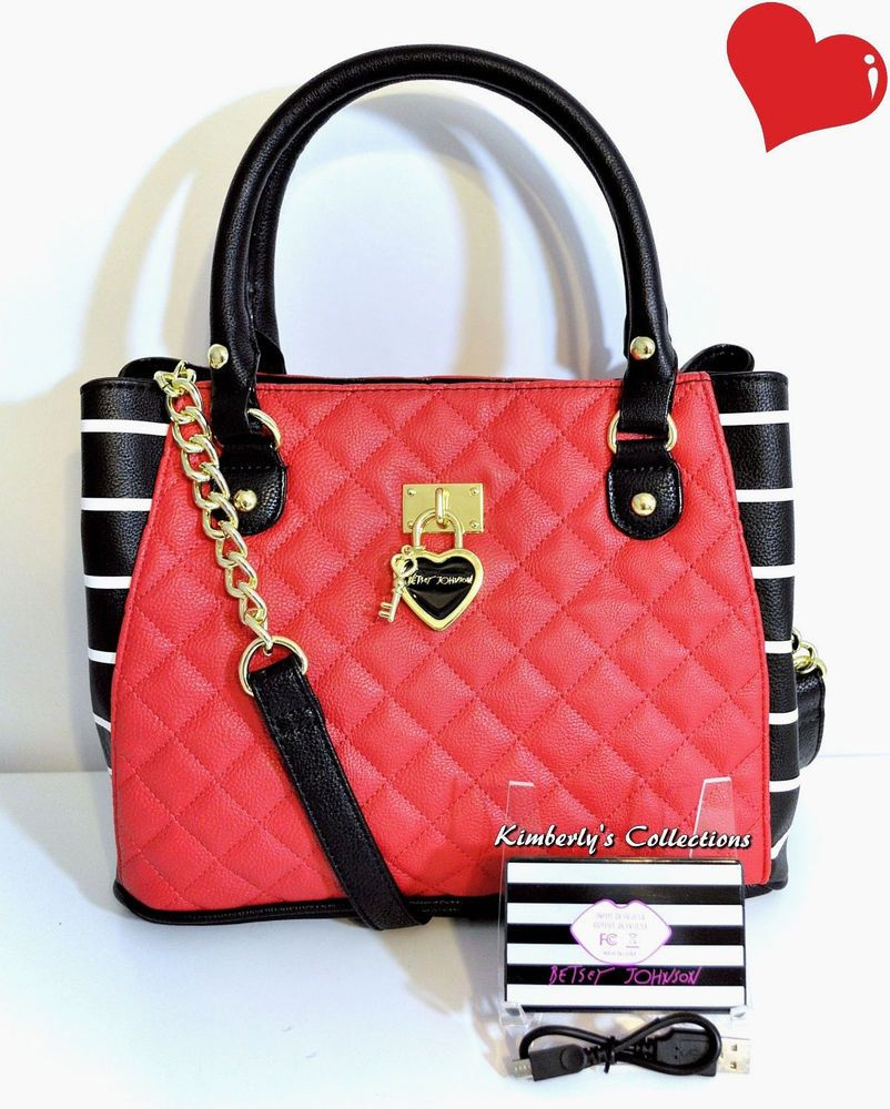 Betsey Johnson Red Satchel Bag w  USB Universal Tech Phone Battery Charger  NWT  BetseyJohnson  ShoulderBagToteShoppers a0eb6cef8fc7c