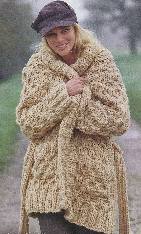 Hand Knit women\'s coat aran women\'s jacket women hand knitted dress ...