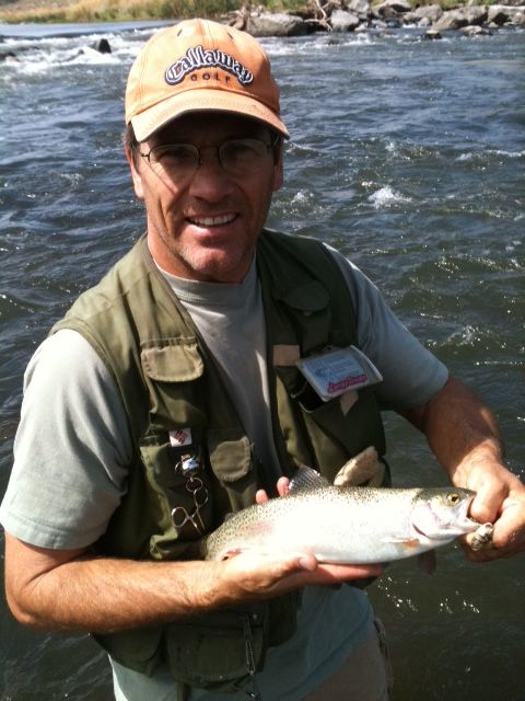 KOLO8 News Now Director of New Media Sales, Mark Sexton, shows off this catch and release at the Truckee River.